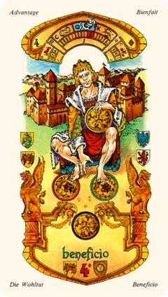 Four of Discs Tarot Card - Stars Tarot Deck