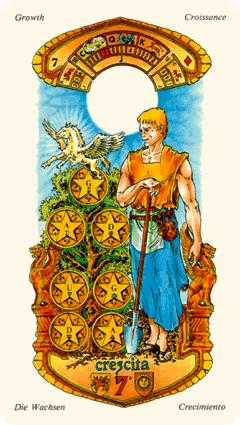 Seven of Pentacles Tarot Card - Stars Tarot Deck