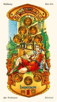 Nine of Coins Tarot Card - Stars Tarot Deck