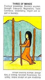 Three of Rods Tarot Card - Starter Tarot Deck