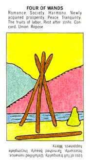 Four of Batons Tarot Card - Starter Tarot Deck