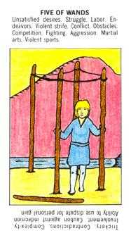 Five of Rods Tarot Card - Starter Tarot Deck
