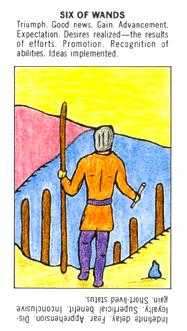 Six of Rods Tarot Card - Starter Tarot Deck