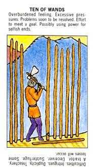 Ten of Staves Tarot Card - Starter Tarot Deck