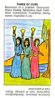 Three of Bowls Tarot Card - Starter Tarot Deck
