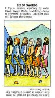 Six of Arrows Tarot Card - Starter Tarot Deck