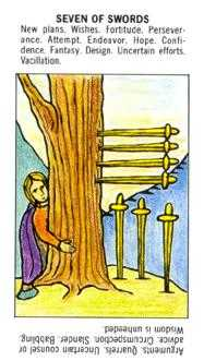 Seven of Arrows Tarot Card - Starter Tarot Deck