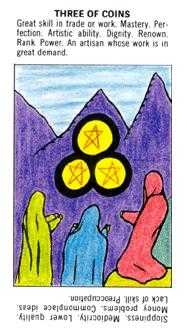 Three of Coins Tarot Card - Starter Tarot Deck