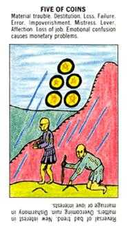 Five of Discs Tarot Card - Starter Tarot Deck