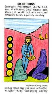 Six of Coins Tarot Card - Starter Tarot Deck