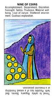 Nine of Coins Tarot Card - Starter Tarot Deck