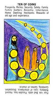 Ten of Coins Tarot Card - Starter Tarot Deck