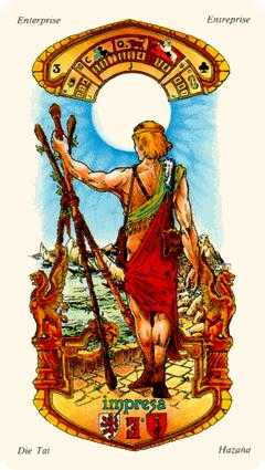 Three of Pipes Tarot Card - Stella Tarot Deck