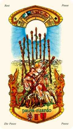 Nine of Sceptres Tarot Card - Stella Tarot Deck