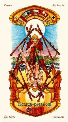 Ten of Staves Tarot Card - Stella Tarot Deck
