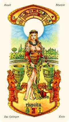 Three of Hearts Tarot Card - Stella Tarot Deck