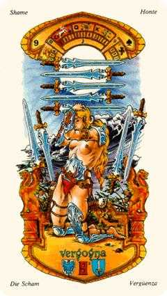 Nine of Arrows Tarot Card - Stella Tarot Deck