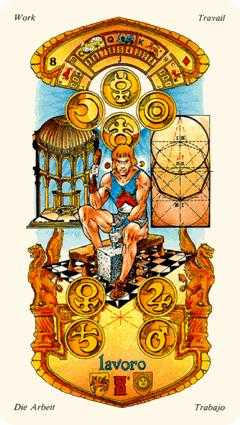 Eight of Coins Tarot Card - Stella Tarot Deck