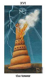 The Falling Tower Tarot Card - Sun and Moon Tarot Deck