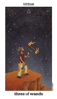 Three of Pipes Tarot Card - Sun and Moon Tarot Deck