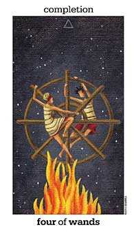 Four of Clubs Tarot Card - Sun and Moon Tarot Deck
