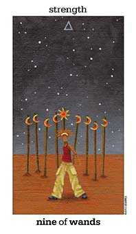 Nine of Sceptres Tarot Card - Sun and Moon Tarot Deck