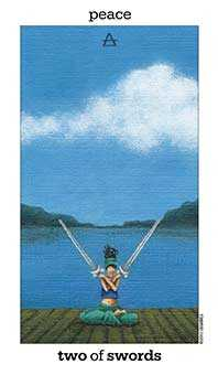 Two of Arrows Tarot Card - Sun and Moon Tarot Deck