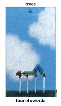 Four of Swords Tarot Card - Sun and Moon Tarot Deck