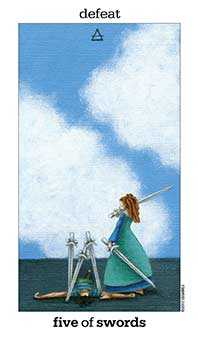Five of Wind Tarot Card - Sun and Moon Tarot Deck