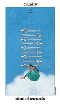Nine of Arrows Tarot Card - Sun and Moon Tarot Deck