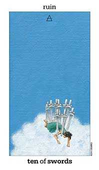 Ten of Swords Tarot Card - Sun and Moon Tarot Deck