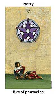 Five of Diamonds Tarot Card - Sun and Moon Tarot Deck