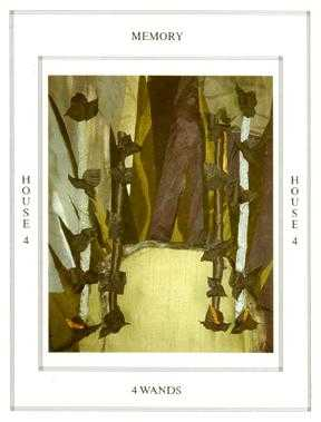 Four of Rods Tarot Card - Tapestry Tarot Deck
