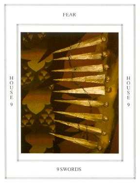 Nine of Arrows Tarot Card - Tapestry Tarot Deck