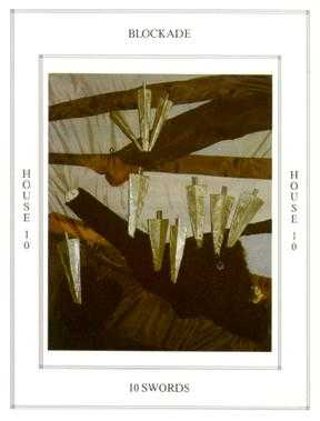 Ten of Arrows Tarot Card - Tapestry Tarot Deck