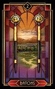 Two of Wands Tarot card in Tarot Decoratif deck