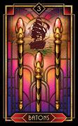 Three of Wands Tarot card in Tarot Decoratif deck