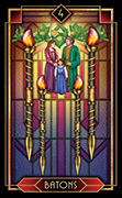 Four of Wands Tarot card in Tarot Decoratif deck