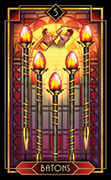 Five of Wands Tarot card in Tarot Decoratif deck