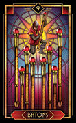 Nine of Wands Tarot card in Tarot Decoratif deck