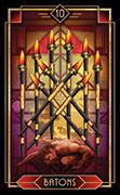 Ten of Wands Tarot card in Tarot Decoratif deck