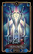 Four of Swords Tarot card in Tarot Decoratif deck