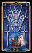 Six of Swords Tarot card in Tarot Decoratif deck