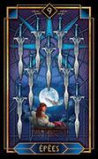 Nine of Swords Tarot card in Tarot Decoratif deck