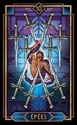 Ten of Swords Tarot card in Tarot Decoratif deck