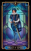 Page of Swords Tarot card in Tarot Decoratif deck