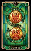 Two of Coins Tarot card in Tarot Decoratif deck