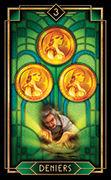 Three of Coins Tarot card in Tarot Decoratif deck