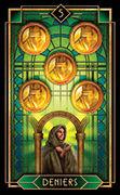 Five of Coins Tarot card in Tarot Decoratif deck