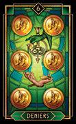 Six of Coins Tarot card in Tarot Decoratif deck